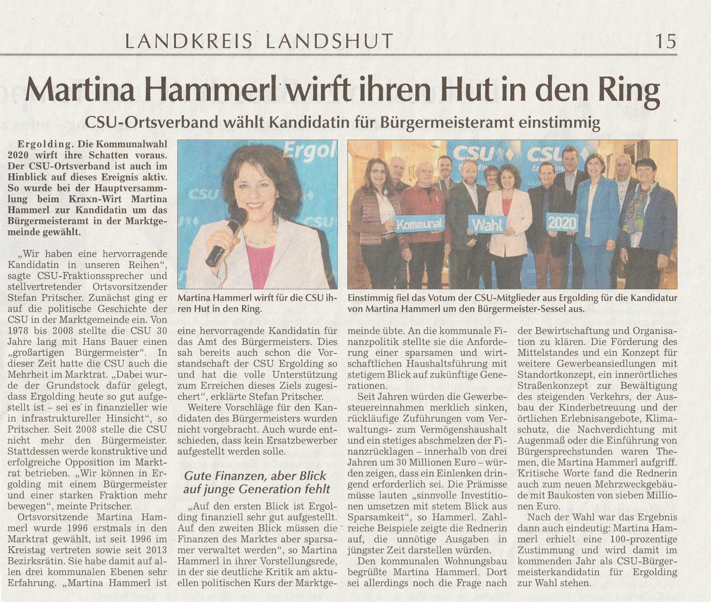 Martina Hammerl wirft ihren Hut in den Ring: LZ Seite 15