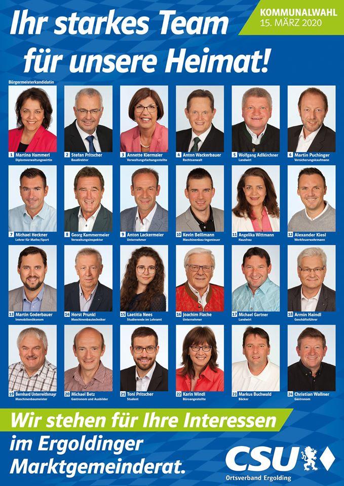 Marktgemeinderatskandidaten der CSU Ergolding